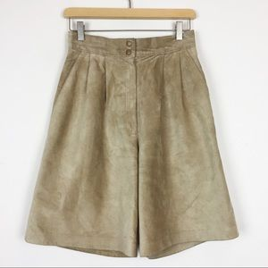 Vintage high waisted long suede shorts beige brown